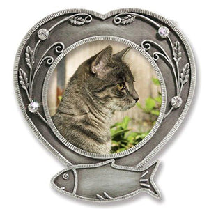 Cat Memorial Frame - Metal Heart Shaped Frame with Crystals(2461)