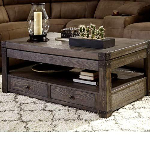End Beside Coffee Table Nightstand w/Storage Drawer, Lift Top Grayish Brown Rectangle Modern Contemporary Coffee Table & E-Book