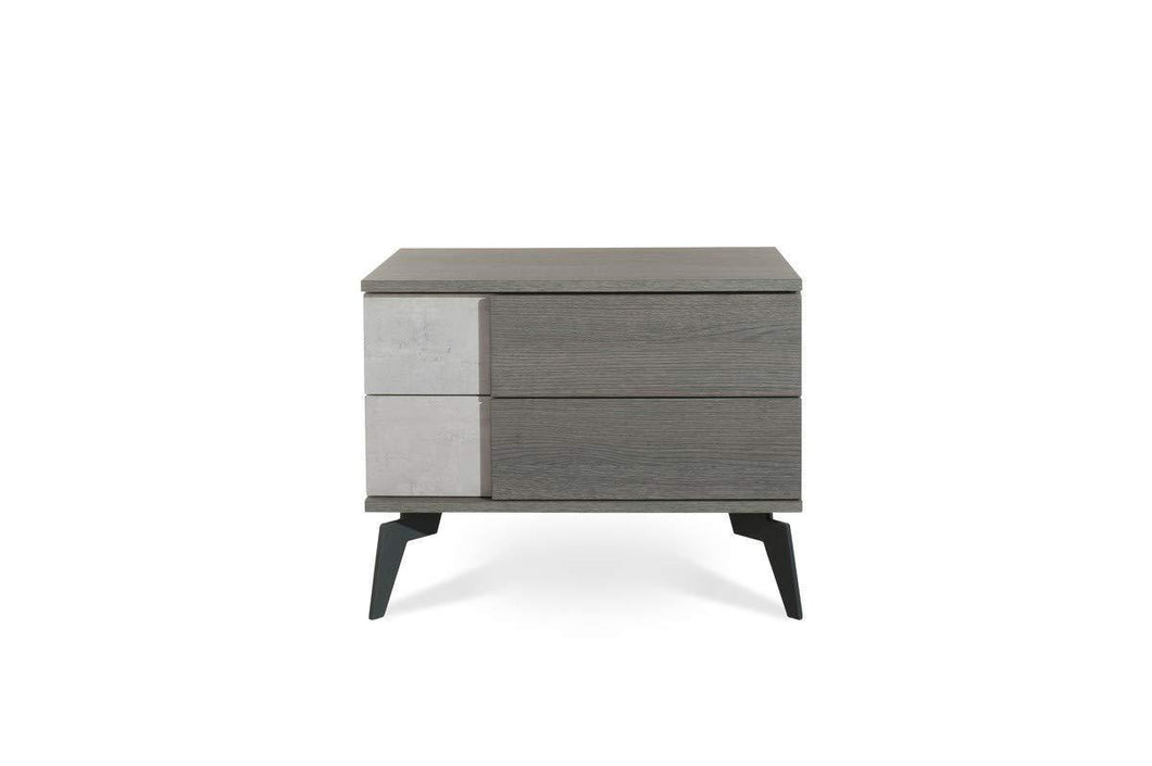 Discover limari home lim 74780 cuscana collection modern style faux concrete matte italian bedroom nightstand with 2 soft closing drawers metal legs grey