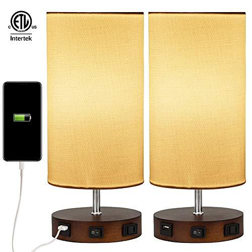 2 X Modern Table Lamp,Usb Side Table Lamp Set,Solid Wood Nightstand Lamps With White Linen Shades,Ambient Light,Usb Charging Port &Amp; Power Socket Perfect For Living Room Bedroom Or Office