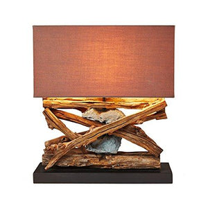 Rustic Wood Stone Table Lamp Natural Reclaimed Driftwood Coastal Nautical Tropical Art Piece Shade
