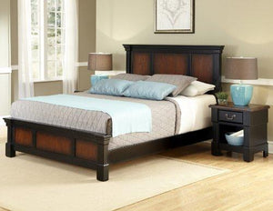 Aspen Rustic Cherry & Black King Bed & Night Stand by Home Styles