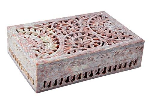 Artisan Handmade Handcrafted Soap Stone Open Cut Floral Design  Jewelry Storage Trinket  Box Home Accent