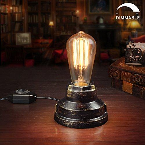 Retro Edison Vintage Table Lamp Industrial Black Wrought Iron Base  Steampunk Home Decor Accent