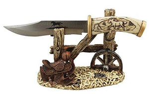 10 1/2  Decorative Horse Handle / Blade Knife With Western Display Stand