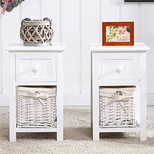 2 Nightstand Bedside Tables 2 Tiers 1 Drawer Bedside End Table Organizer 1 Baskets Floating Modern Nightstand Small Super Cute Bedroom End Bedside Tables Bedroom Night Stands Sets Vintage (White)