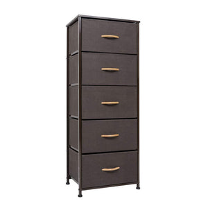 Crestlive Products Vertical Dresser Storage Tower - Sturdy Steel Frame, Wood Top, Easy Pull Fabric Bins, Wood Handles - Organizer Unit for Bedroom, Hallway, Entryway, Closets - 5 Drawers (Brown)