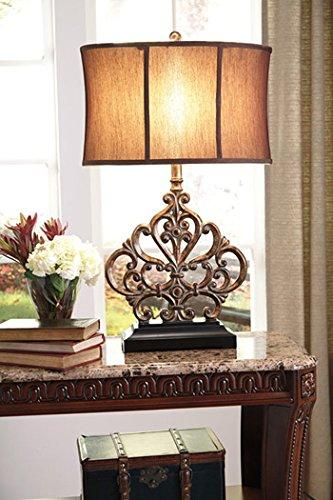 Ashley Signature Design Ornate Scrolling Table Lamp Traditional Antiqued Copper Finish