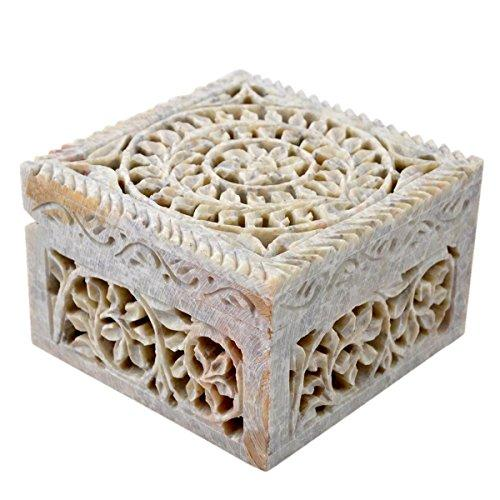 Artisan Handmade Soap Stone  Storage Treasure Trinket Jewelry Open Cut Floral Design Home Accent