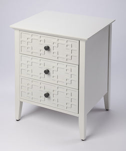 Kinsley Glossy White 3-Drawer Accent Chest