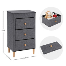 Load image into Gallery viewer, Great kamiler 3 drawer dresser nightstand beside table end table storage organizer tower unit for bedroom hallway entryway closets removable fabric bins no tool required to assemble