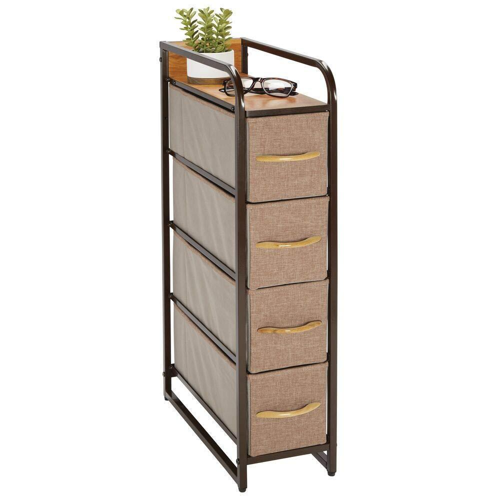 mDesign Vertical Narrow Dresser Storage Tower - Sturdy Steel Frame, Wood Top & Handles, Easy Pull Fabric Bins - Organizer Unit for Bedroom, Hallway, Entryway, Closets - 4 Drawers - Coffee/Espresso