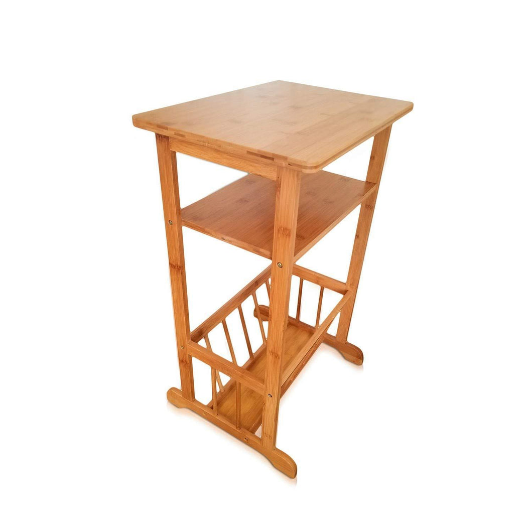 SplashSoup Bamboo Side Table | Compact Book Magazine Media Rack End Piece | Natural Bathroom Towel Stand | Living Room Corner Organizer & Entryway Caddy