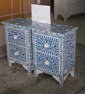 Ace Craftique Wooden Handmade Bone Inlay Bedside End Table for Living Room - Blue