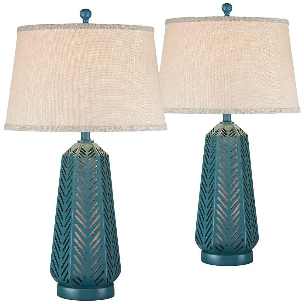 Crew Largo Blue Night Light Table Lamps Set of 2