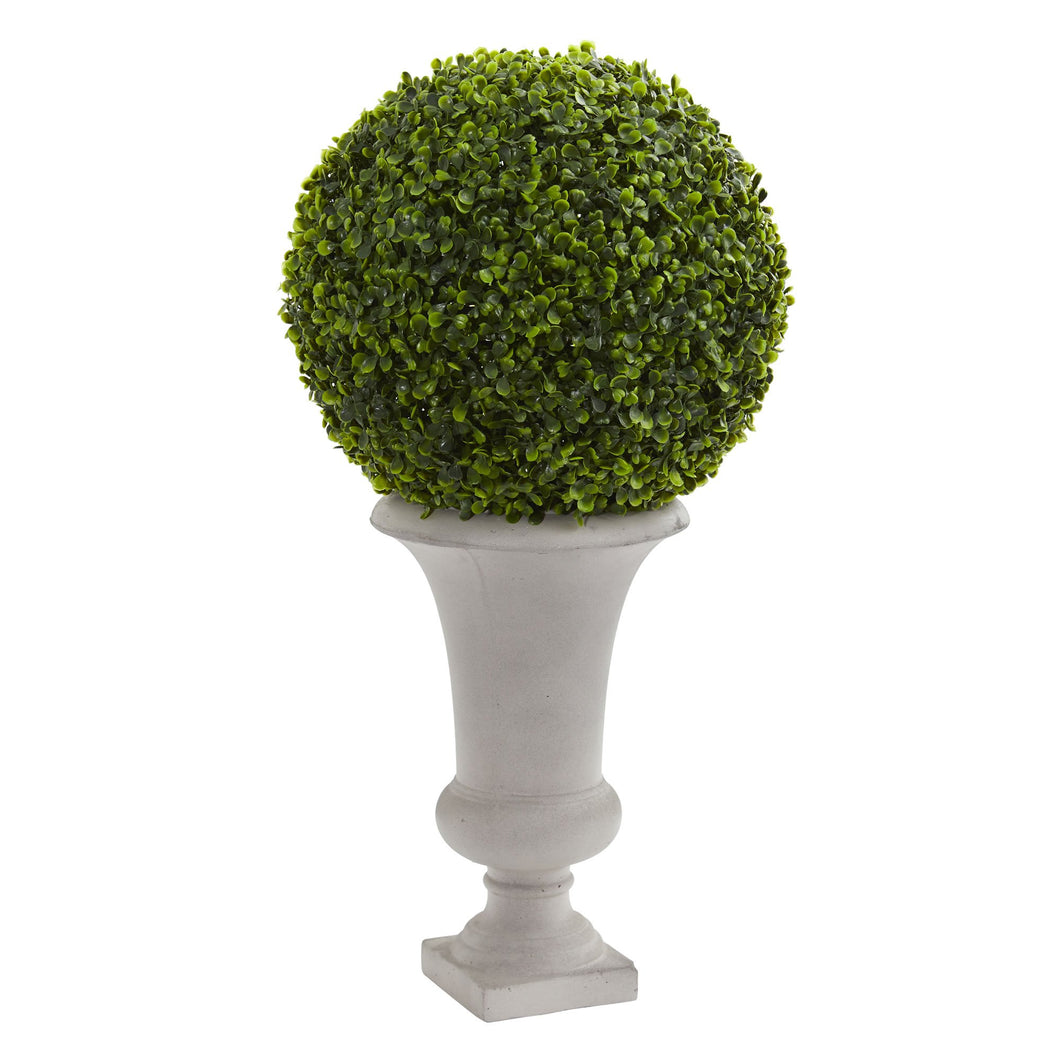 "28"" Boxwood Ball Topiary Artificial Plant in Urn (Indoor/Outdoor)"