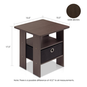 Furinno End Table Nightstand 11157DBR/BK