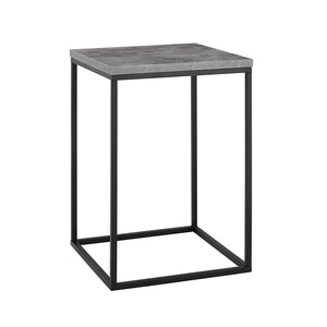 "WE Furniture AZF16LWSTDC Industrial Square Side End Table with for Living Room, 16"", Dark Concrete"