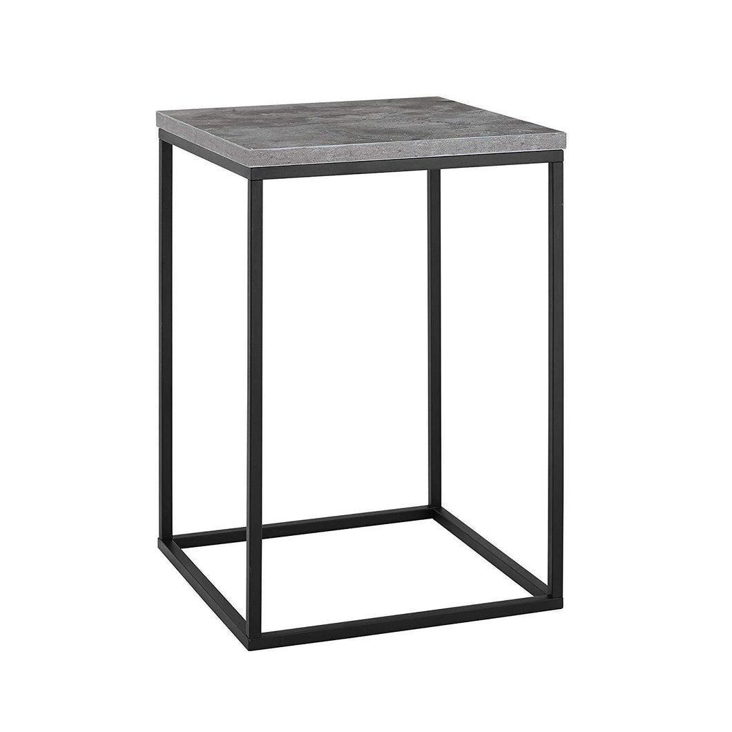 WE Furniture AZF16LWSTDC Industrial Square Side End Table with for Living Room, 16
