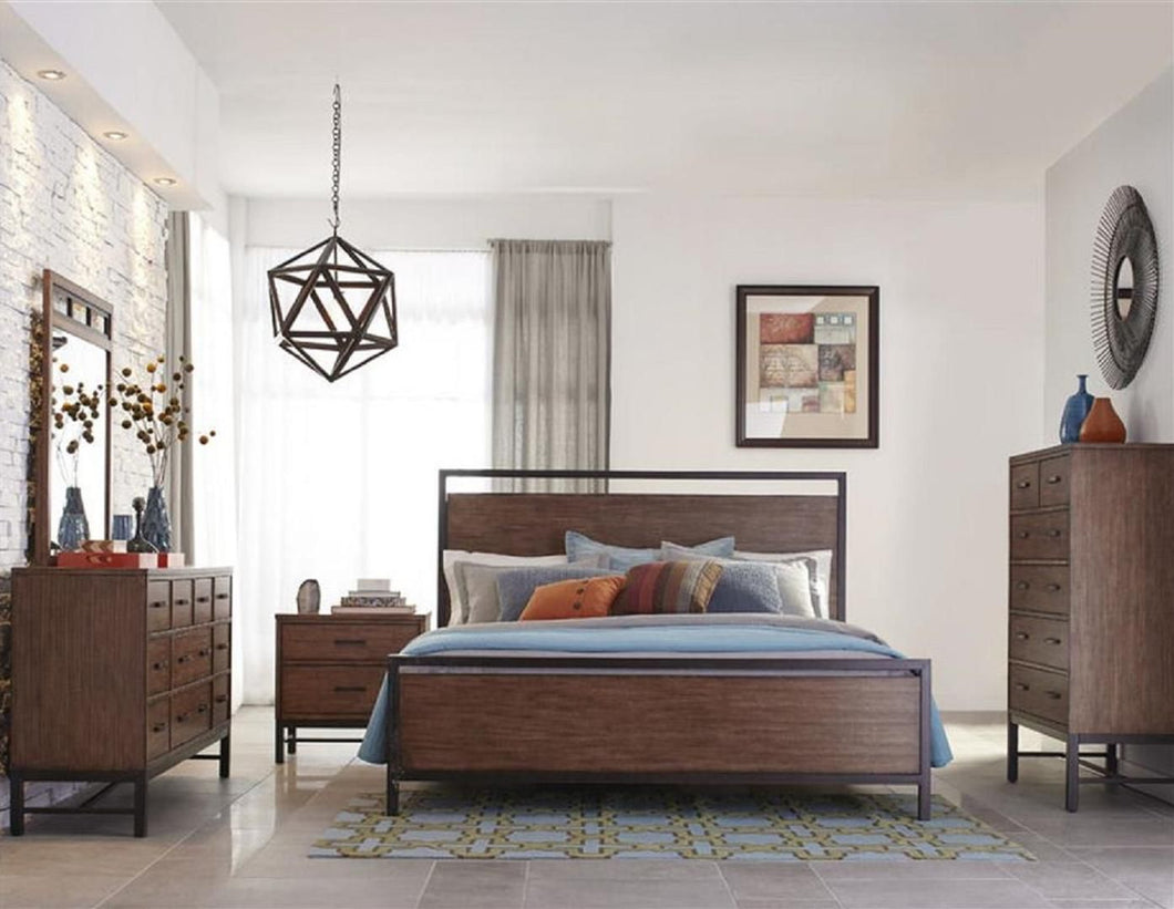 Affinity 4-Piece Bedroom Set with King Panel Bed, Dresser, Mirror and Nightstand in Mango Color