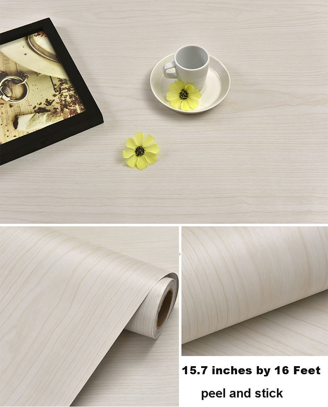 Glow4u Self Adhesive Light Oak Wood Grain Contact Paper Shelf Drawer Liner for Kitchen Cabinets Shelves Drawer Cupboards Table Arts and Crafts Decal 15.7x197 Inches