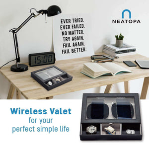 Discover u neatopa valet tray nightstand organizer with spacious wireless charging station for smart devices and catchall tray for keys cash coins watches credit cards black