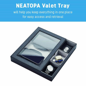 Discover the best u neatopa valet tray nightstand organizer with spacious wireless charging station for smart devices and catchall tray for keys cash coins watches credit cards black