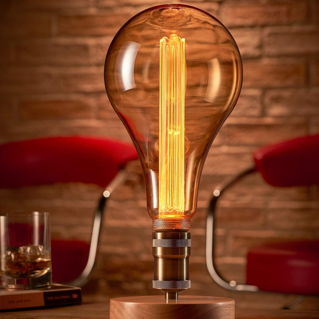 Auraglow Mysa Vintage Retro Wooden Round Base Mechanical With XXL LED Bulb