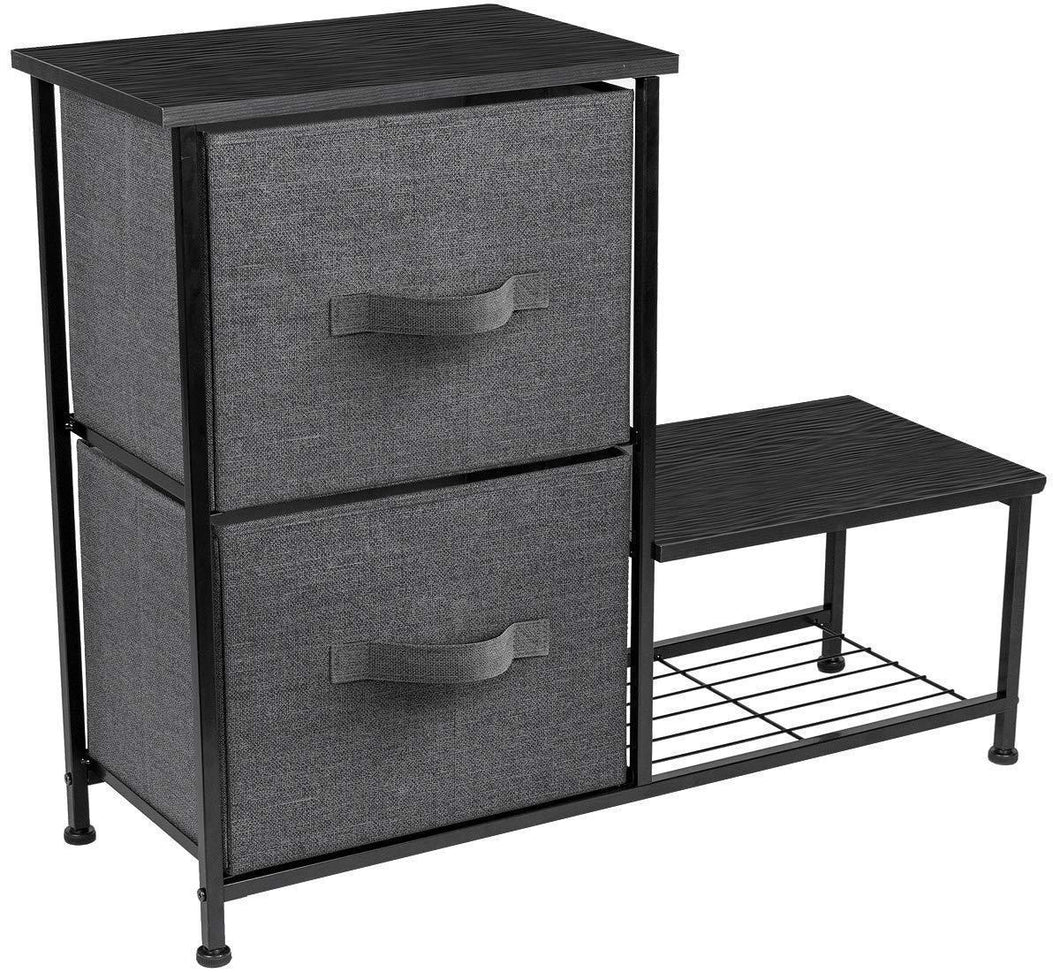 Sorbus 2-Drawer Nightstand with Shelf - Bedside Furniture & Accent End Table Chest for Home, Bedroom Accessories, Office, College Dorm, Steel Frame, Wood Top, Easy Pull Fabric Bins (Black)