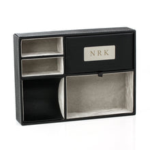Load image into Gallery viewer, Featured oneplace gifts personalized faux leather valet tray nightstand or dresser top organizer for men 5 compartment catch all for accessories engraved