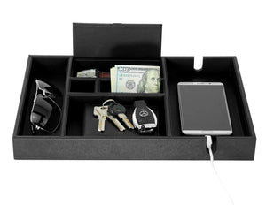 Budget lifomenz co mens valet tray with charging station nightstand dresser organizer mens catchall tray for keys phone wallet coin jewelry sunglasses watch