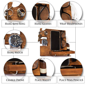 Organize with wooden docking station for men and women nightstand organizer with coaster charges phone and holds keys watch wallet glasses ring pen coins perfect gift with varnish finish by peraco