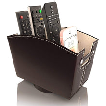 Load image into Gallery viewer, Purchase kyle matthews designs tv remote control holder caddy bedside organizer nightstand storage desk accessories rotating base faux leather multiple compartments