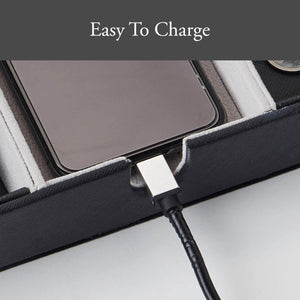 Selection neatopa valet tray men jewelry keys watch nightstand organizer for perfect life on table valet box made of black pu leather velvet with charging station 10 compartment