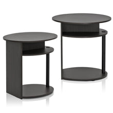 Load image into Gallery viewer, Furinno Oval End Table 2-15080WNBK SET OF 2