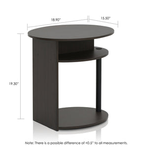 Furinno Oval End Table 2-15080WNBK SET OF 2
