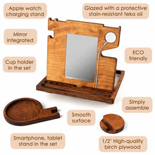 Load image into Gallery viewer, Heavy duty rostmary wooden docking station smart watch stand phone holder nightstand desk organizer for smartphone watch and wallet holder for him for men for dad husband gift set 3 in 1