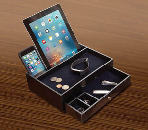Top rated ideas in life valet drawer charging station black nightstand organizer wallet and key tray holds watches jewelry tablet 5 compartment cell phone holder for men and women
