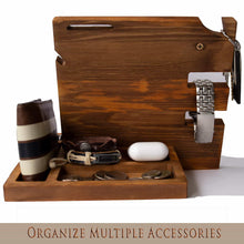 Load image into Gallery viewer, Order now wooden docking station for men and women nightstand organizer with coaster charges phone and holds keys watch wallet glasses ring pen coins perfect gift with varnish finish by peraco