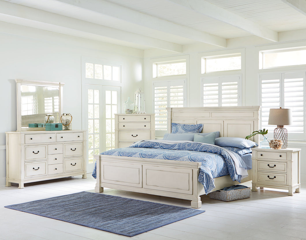Athena Distressed Vintage White Finish Wood Queen Bed, Dresser, Mirror, 2 Nightstands, Chest