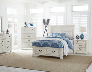 Athena Distressed Vintage White Finish Wood Twin Storage Bed, Dresser, Mirror, 2 Nightstands, Chest