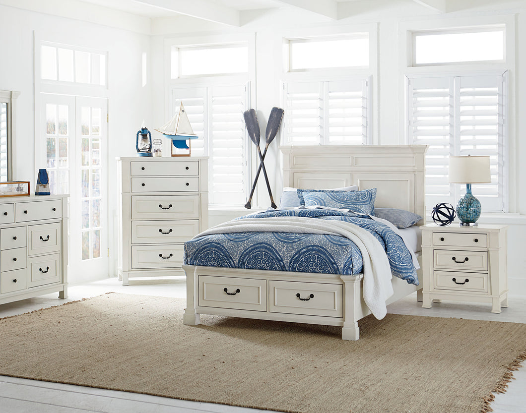 Athena Distressed Vintage White Finish Wood Full Storage Bed, Dresser, Mirror, 2 Nightstands, Chest
