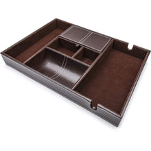 Load image into Gallery viewer, Related west end warehouse valet tray for men edc tray nightstand organizer table organizer charging station catch all dresser tray dark brown faux leather 6 compartments