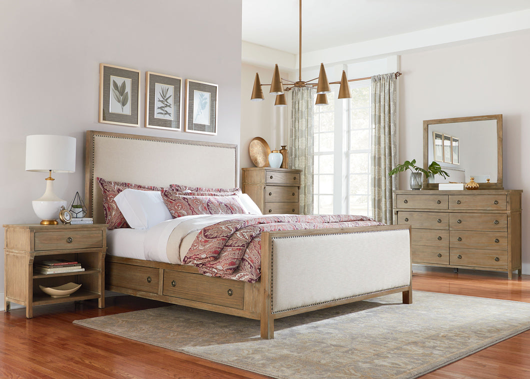 Charlie Court Distressed toffee King Upholstery Storage Bed, Dresser, Mirror, 2 Nightstands, Chest