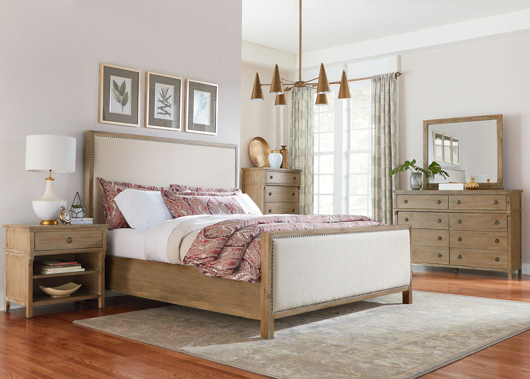 Charlie Court Distressed toffee King Upholstery Bed, Dresser, Mirror, 2 Nightstands, Chest