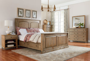 Charlie Court Distressed toffee Queen Wood-Panel Storage Bed, Dresser, Mirror, 2 Nightstands, Chest