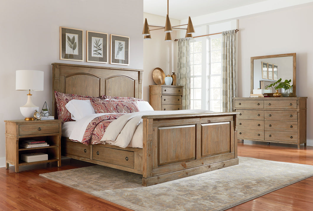 Charlie Court Distressed toffee King Wood-Panel Storage Bed, Dresser, Mirror, 2 Nightstands, Chest