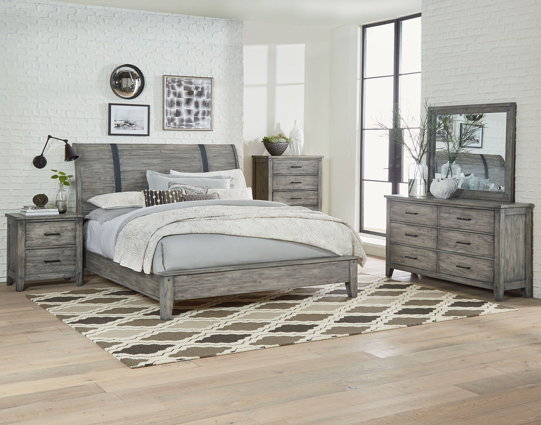 Benjamin Reclaimed Rustic Grey Finish Queen Sleigh Bed, Dresser, Mirror, 2 Nightstands, Chest