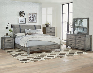 Benjamin Reclaimed Rustic Grey Finish King Sleigh Storage Bed, Dresser, Mirror, 2 Nightstands, Chest