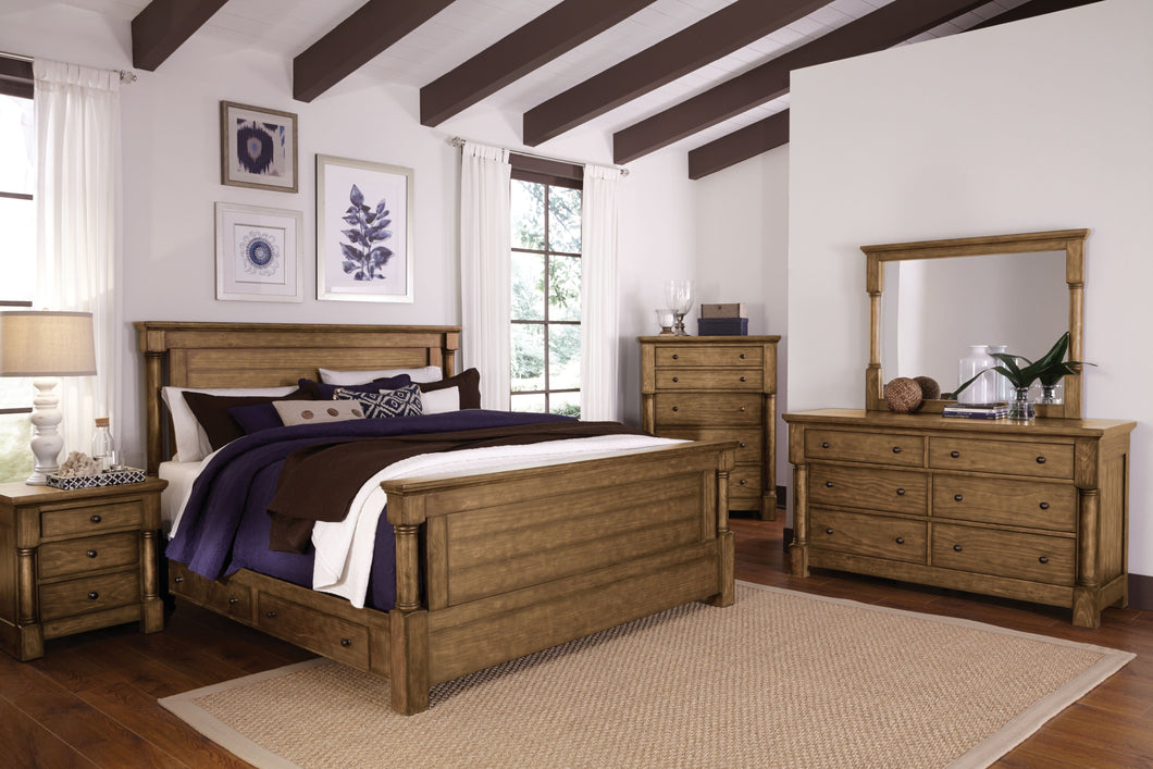 Anthony Honey Brown Finish King Storage Bed, Dresser, Mirror, 2 Nightstands, Chest